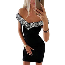 Load image into Gallery viewer, Dress Women Fashion Sleeveless Off Shoulder Slash Neck Crystal V Neck Black Party Dress Streetwear Women Bodycon vestidos H30