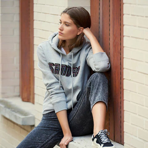 2019 fall and winter new hooded long sleeve letter embroidery beaded women cotton hoodies