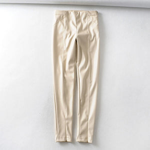 Tangada women white skinny PU leather pants stretch zipper female autumn winter pencil pants trousers 6A04