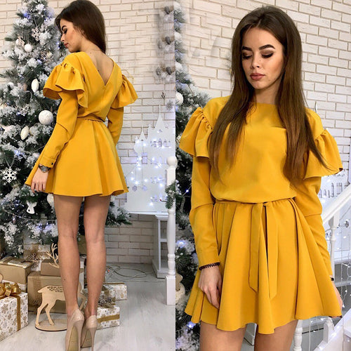 Women Sashes Ruffled a Line Party Dress Ladies Long Sleeve O Neck Elegant Dress 2019 Female autumn Solid Mini Dress