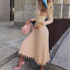 Elegant Party Pleated Sweater Dress Women 2019 Winter Autumn Pink Office Ladies Midi Knitted Vestido Sexy Slim Plus Size Dresses