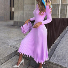 Load image into Gallery viewer, Elegant Party Pleated Sweater Dress Women 2019 Winter Autumn Pink Office Ladies Midi Knitted Vestido Sexy Slim Plus Size Dresses