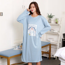 Load image into Gallery viewer, Spring Winter Women Cotton Nightgowns Sleepshirts Long Sleve Cute Animal Striped Loose Long Nightdress Sleep Dress Sleepwear