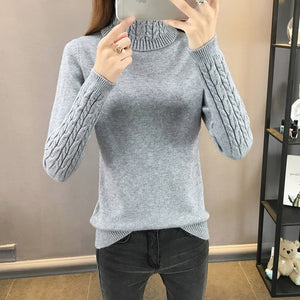 2019 New Autumn winter Women Knitted Sweaters Pullovers Turtleneck Long Sleeve Solid Color Slim Elastic Short Sweater Women