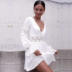 Women Summer Dress Lace  Sexy Dress Short Sleeve Holiday Beach Hollow Out Mini Dress White