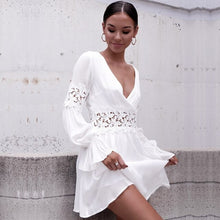 Load image into Gallery viewer, Women Summer Dress Lace  Sexy Dress Short Sleeve Holiday Beach Hollow Out Mini Dress White