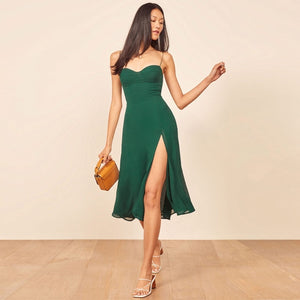 Dress French retro style women's dress midi length dress sweetheart neckline tie straps side slit fancy elegant party dress