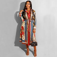 Load image into Gallery viewer, Spring Ladies Turn-down Collar Print A-Line Work Office Long Dress Casual Fit And Flare Pleated Dress Autumn Women Fashion