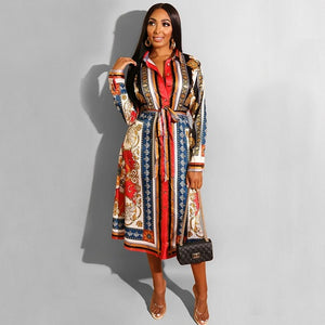 Spring Ladies Turn-down Collar Print A-Line Work Office Long Dress Casual Fit And Flare Pleated Dress Autumn Women Fashion