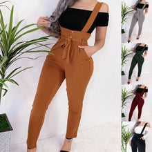Load image into Gallery viewer, 2019 Fashion Women Overalls Casual Solid Color Black Drawstring High Waist Women Pants Winter Pants Women