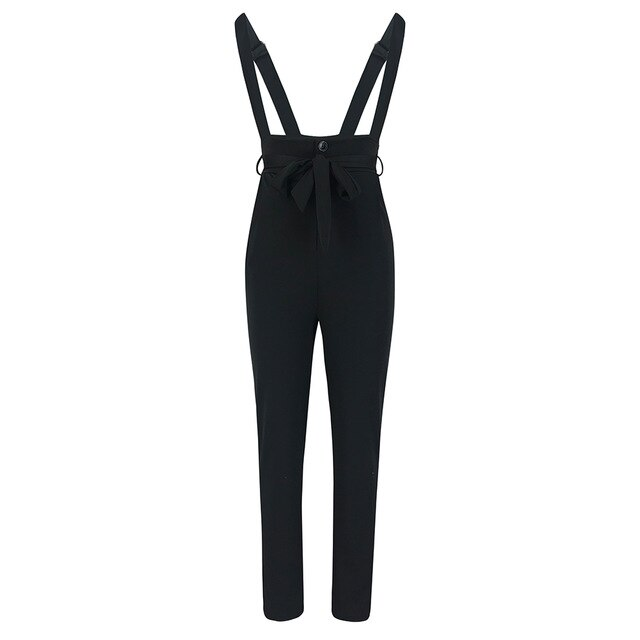 2019 Fashion Women Overalls Casual Solid Color Black Drawstring High Waist Women Pants Winter Pants Women