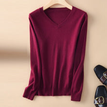 Load image into Gallery viewer, natural rabbit cashmere women sweater v-neck winter warm pullover female fall soft stretch jumper top casual short sweaters