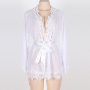 Women Summer Autumn Perspective Robe Sets Sexy Lace Bathrobe Translucent Lingerie Lace-up Plus Size Nightwear Home Clothes Y8