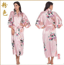 Load image into Gallery viewer, RB015 Satin Robes for Brides Wedding Robe Sleepwear Silk Pijama Casual Bathrobe Animal Rayon Long Nightgown Women Kimono XXXL
