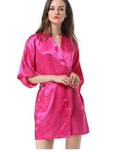 Load image into Gallery viewer, New Black Chinese Women's Faux Silk Robe Bath Gown Hot Sale Kimono Yukata Bathrobe Solid Color Sleepwear S M L XL XXL NB032