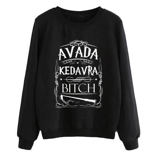 hipster fleece pullovers women tracksuits dropship hip hop lady casual o-neck hoodies Avada Kedavra Bitch sweatshirt 2019 autumn