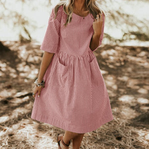 ZANZEA Women Summer Elegant O Neck Half Sleeve Pockets Loose Party Vestido Casual Baggy Work Striped Dress Sundress Oversized
