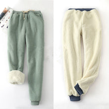 Load image into Gallery viewer, Winter Lambskin Thicker Elastic Waist Pants Loose Large Size Solid Color Cotton Harem Pants Women Casual Warm Trousers