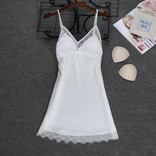 Load image into Gallery viewer, Fashion 2018 NEW Sexy Strap Top Robe Summer Womens Sleepwear Casual Faux Silk Home Wear Nightwear Bath Gown Size M-XXL