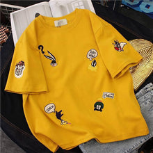Load image into Gallery viewer, Plus Size Women's Summer T-Shirts 2019 New O-Neck Short Sleeve Cute Cartoon T-Shirt for Girls Students Lady BF Style Tops Tees