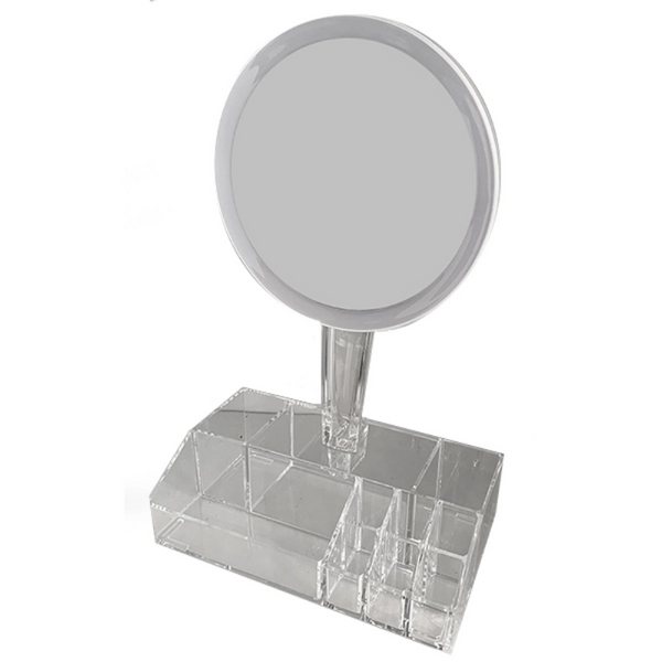 LED Mirror with Cosmetic Organiser - Carousel Cosmetics