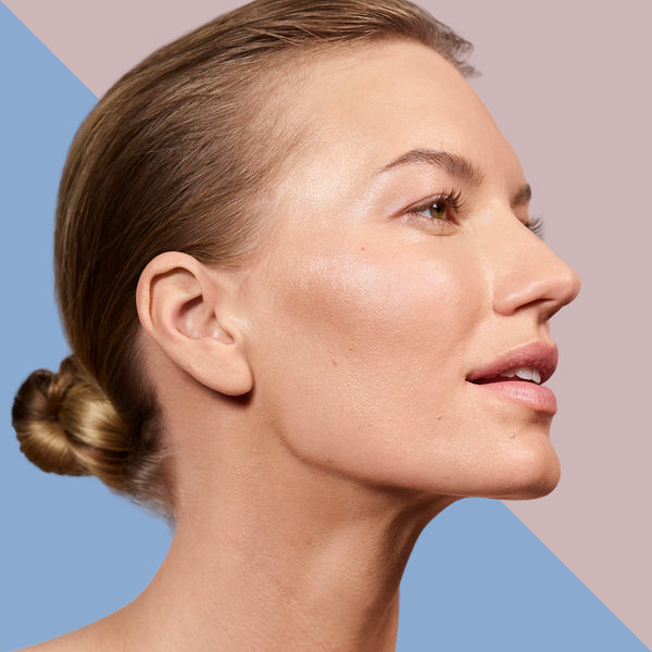 A woman with the brightening skin
