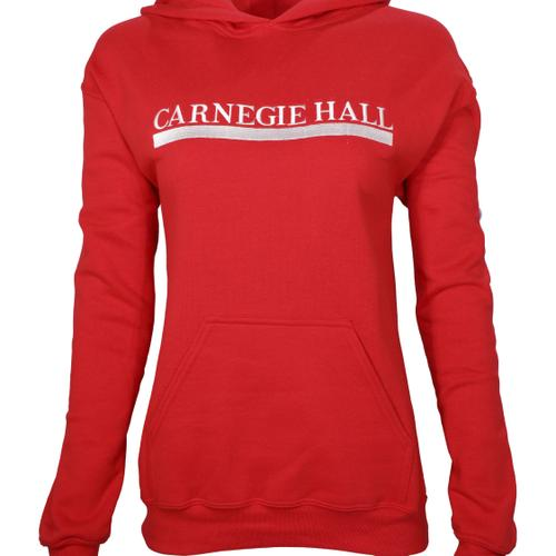 Red Hooded Pullover Sweatshirt (White Embroidered Logo)