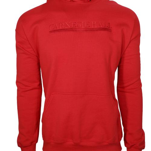 Red Hooded Pullover Sweatshirt (Red Embroidered Logo)