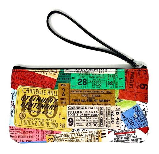 Vintage Tickets Bicast Leather Pouch