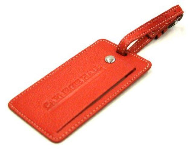 Levenger Leather Luggage Tag (Red_