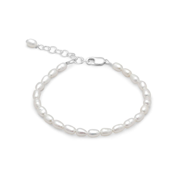 "5"" + 1"" Extension White Rice Cultured Freshwater Pearl Bracelet"