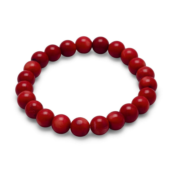 Red Coral Bead Stretch Bracelet