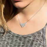 "Rhodium Plated CZ ""V"" Design Necklace"