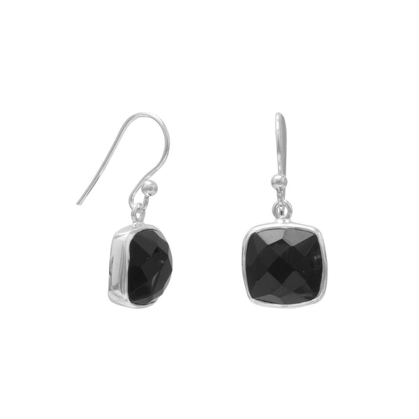 Faceted Black Onyx French Wire Earrings