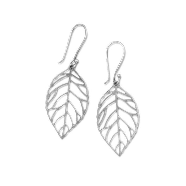 Oxidized Cut Out Leaf Drop Earrings