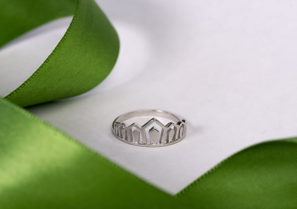 Sterling Silver Art Deco Princess Crown Ring