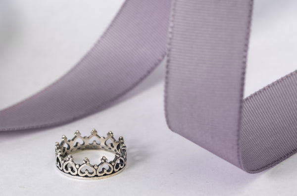 Sterling Silver Hearts Crown Ring