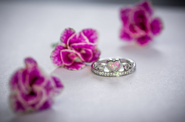 Sterling Silver Pink Lab Opal Heart CZ Heart Crown Ring