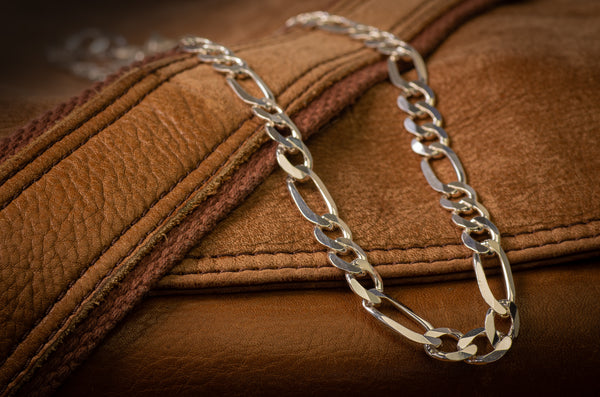 Men's Extra Large Sterling Silver Figaro Chain 8mm