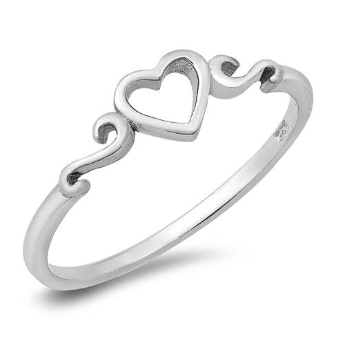 Open Heart Scroll Ring