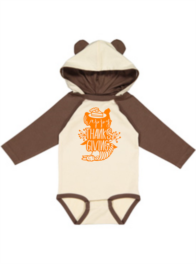 Happy Thanksgiving Infant Character Hood Fine Jersey Bodysuit with Ears