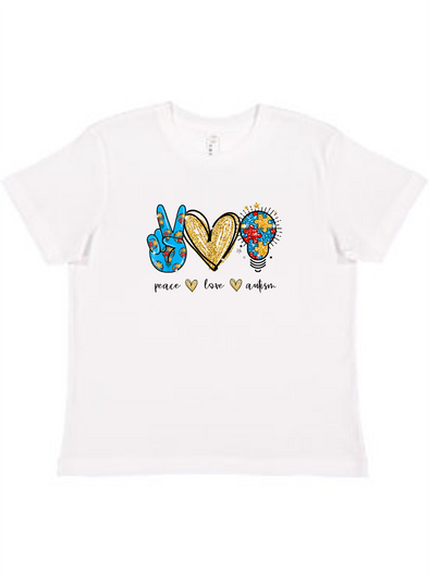 Peace Love Autism Youth Tee