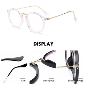Round Retro Blue Light Blocking Computer Glasses for Women