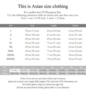 Japanese Style Hoodies Sizes