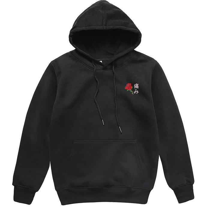 Harajuku Hoodie with Rose Pattern