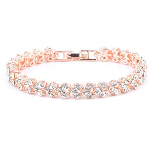 Trendy Sterling Silver Bracelets Embedded With Crystals