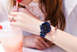 Womens Starry Classy Watch and  Luxury Bracelet Magnetic Mesh