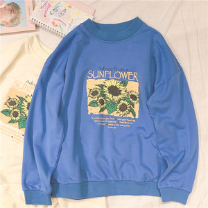 Sunflower Harajuku O-Neck Outerwear Casual Pullover Top