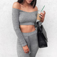Load image into Gallery viewer, Stylish Off-shoulder Long Sleeve Crop Top & Pencil Slim Leggings Set