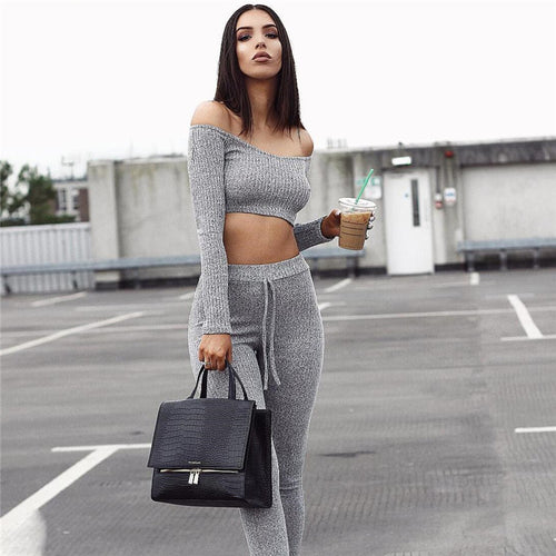 Stylish Off-shoulder Long Sleeve Crop Top & Pencil Slim Leggings Set